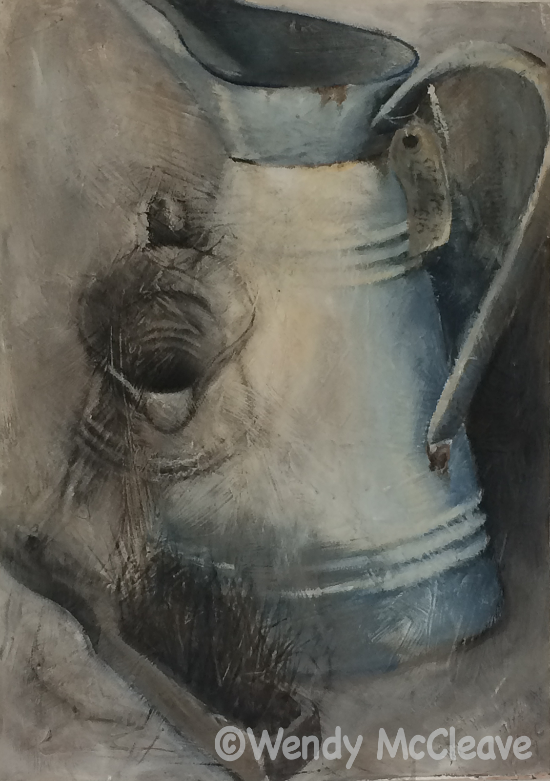 Ghost Jug (2018) Acrylic Painting on prepared ground of a French white enamel jug and an old brush found beside the lane