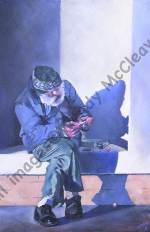 Acrylic painting on canvas of a homeless man in Brighton. He is sitting in an alcove rolling a cigarette.