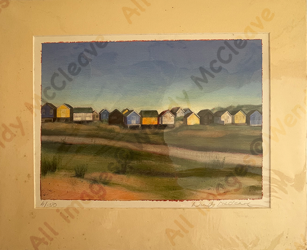 Mounted print of view across Mudeford Sandbank Spit to the beach huts