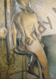 Charcoal and pastel life study of Jo perching on a stool. SOLD
