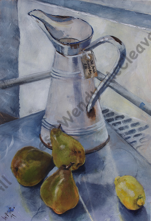 Acrylic study on prepared paper of a white French enamel jug with pears and a lemon on a steel trolley.