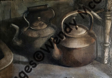 Oil painting on plastered board of 2 huge old copper kettles in an empty house.