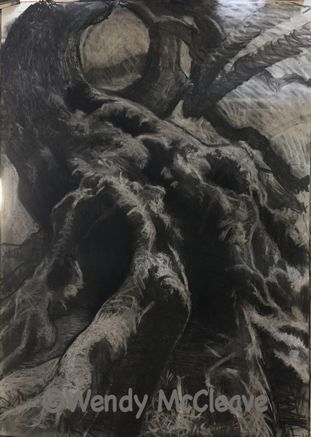 Charcoal drawing of the rough trunk of an ancient willow