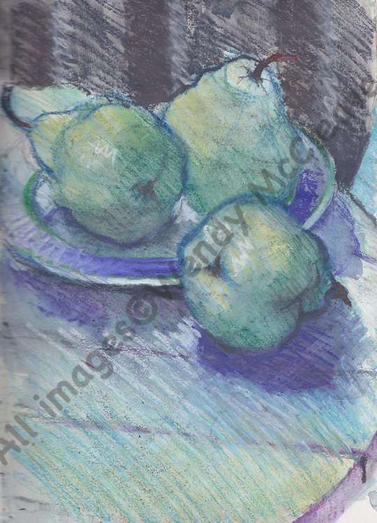 Cretacolour and wash sketch of Luke's big, knobbly pears.