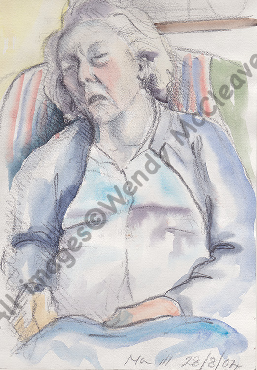 A pen and wash study of my late mother at her home near Newbury before the doctor visited.