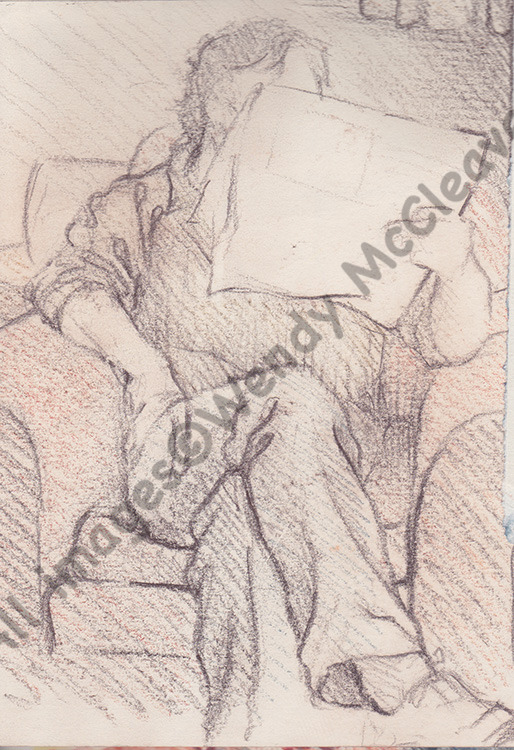 Wax drawing pencil sketch of Martin reading the newspaper.