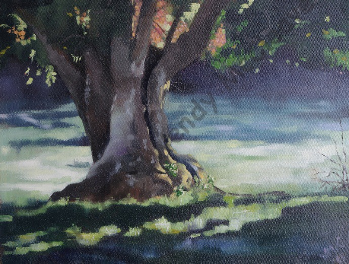 Water-based oil painting on canvas of a lone willow tree on a slightly misty early morning.
