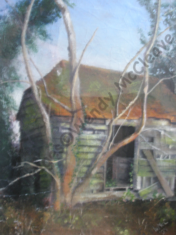 Mixed media painting on collaged paper of an old shed near my cousin's garden in Highclere, Newbury