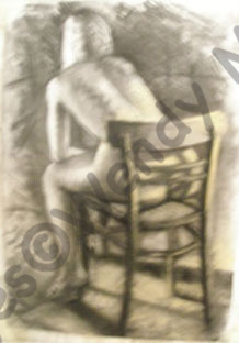 Charcoal and pastel life study of a model sitting on a chair facing away from me.