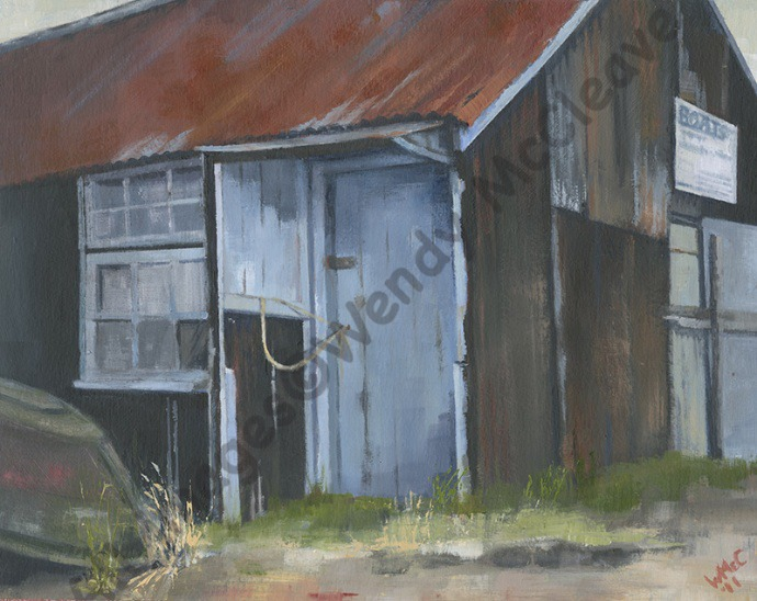 Acrylic painting on prepared paper of an old boat shed at Mudeford Sandbank Spit.