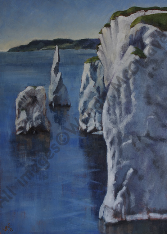 Large acrylic painting on canvas of Old Harry rocks, Dorset.