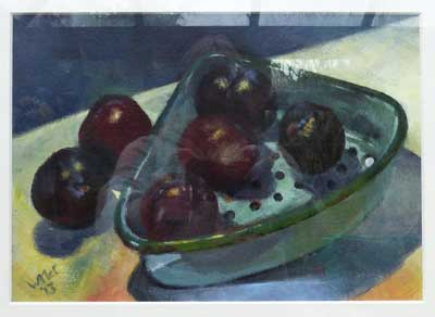 Still life of plums in an old drainer. Acrylic painting on prepared paper.
