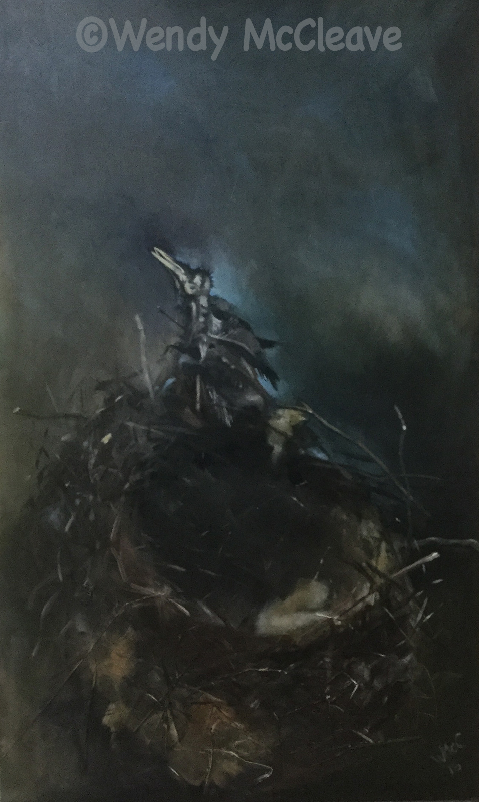 Painting on canvas of a corvid's nest with the fossilised remains of a young bird welded to the edge.