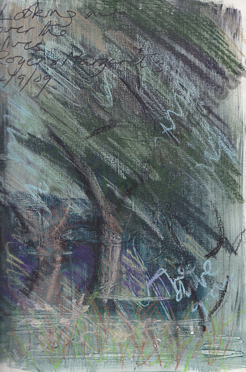 Oil pastel sketch of olive trees in Cugnoli, Pescara, Italy