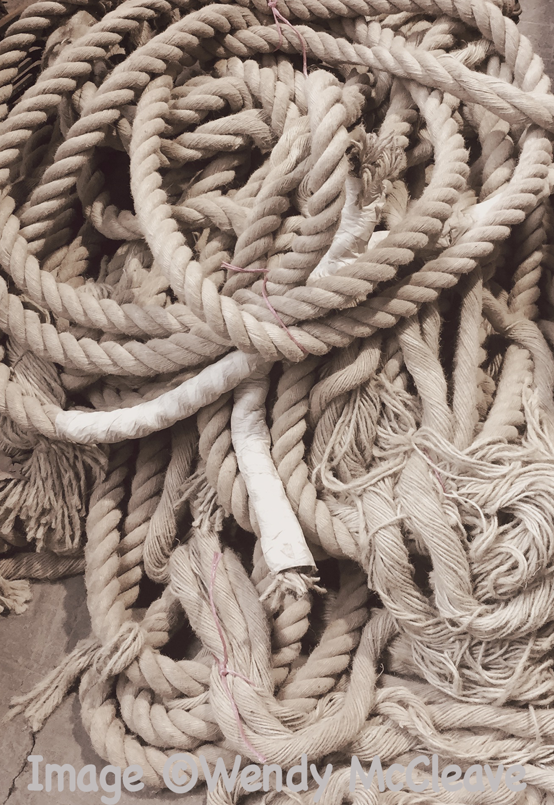 Coils of old rope at a reclamation centre