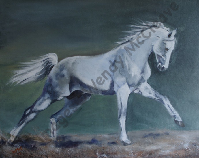Large acrylic painting on canvas of a running grey horse against a green background
