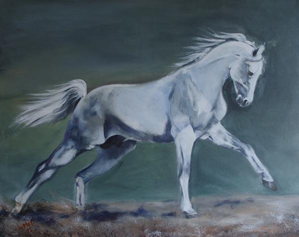Cantering dapple grey horse against a dark green background