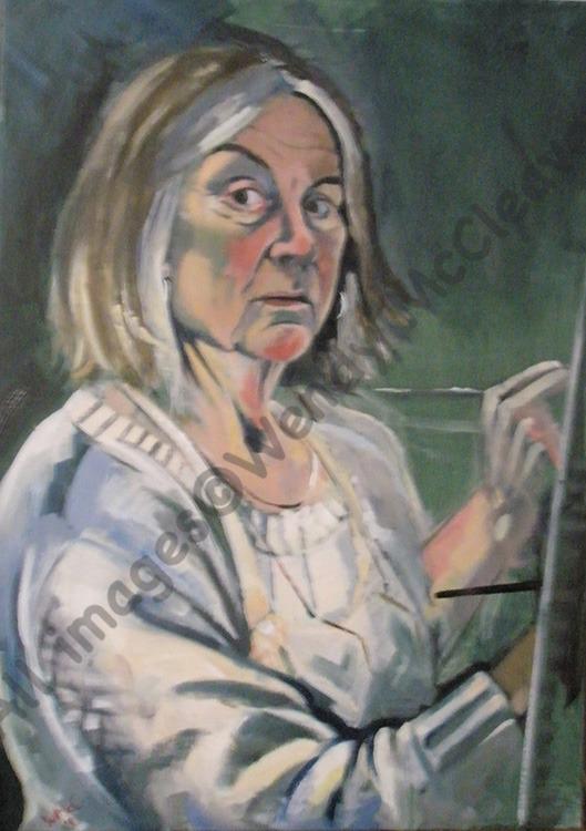 Acrylic self-portrait study on canvas
