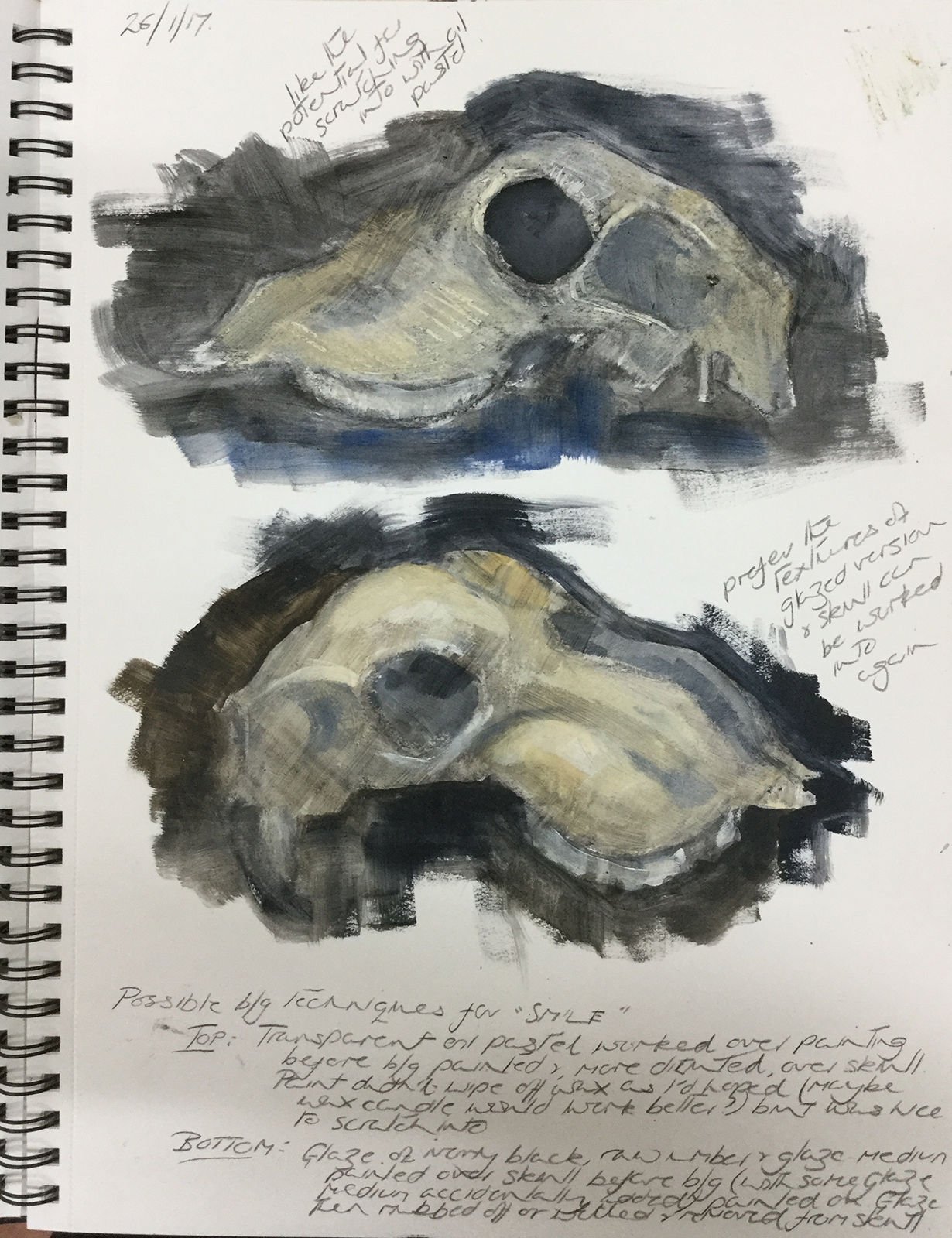 Investigative sheep skull studies in acrylic paint for a later image called 'Smile'.