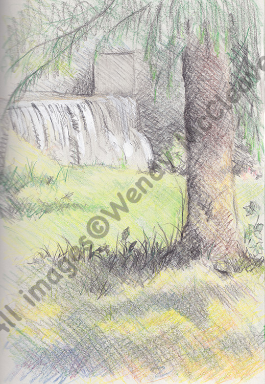 Cretacolour sketch of dappled sunlight and a waterfall at the camper site in Slovakia.