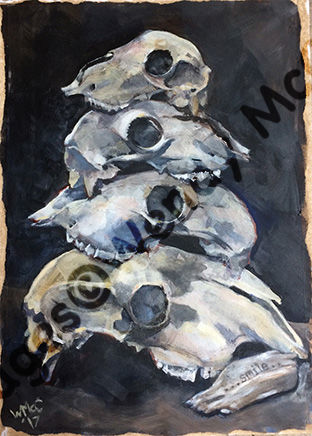 Acrylic on prepared paper of a pyramid of sheep skulls and a small piece of driftwood with 'Smile' burned onto it.