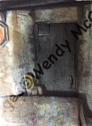 Charcoal, pastel and chalk on prepared paper. A corner of a room in an empty house. An ornate sofa in front of a recessed wooden door.
