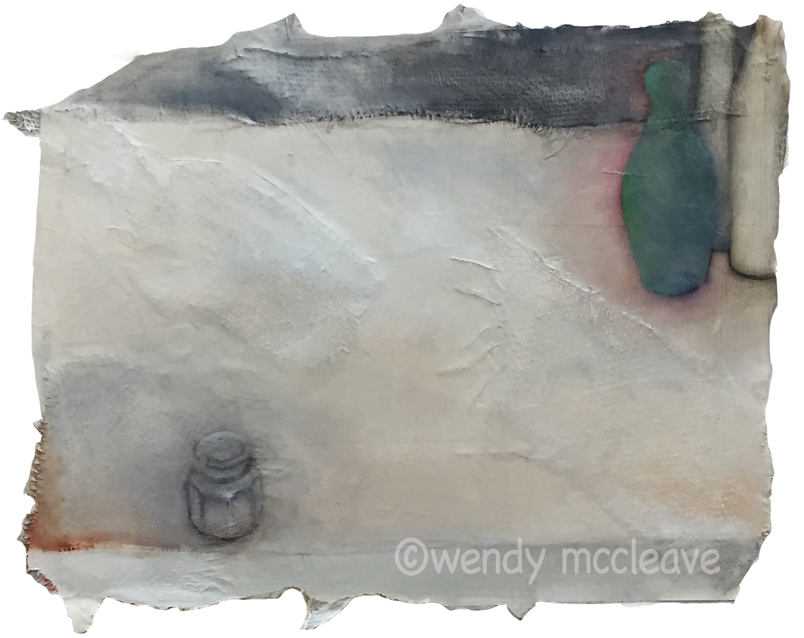 Mixed media still life painting of small jar isolated in foreground from group of old bottles in background