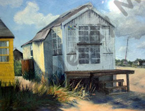 Acrylic painting on prepared paper of the tin beach hut at Mudeford Sandbank Spit
