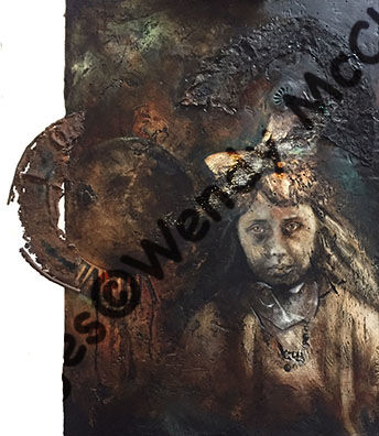 Mixed media painting on plastered board of an ancient portrait with added lace, imprints and rusty metal.