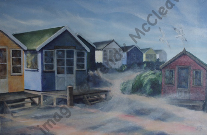 Large acrylic painting with added metallic paint on canvas of beach huts on Mudeford Sandbank Spit in strong wind