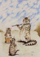 Bengal cats. Flutewise cover design, pencil. Prints £20 each
