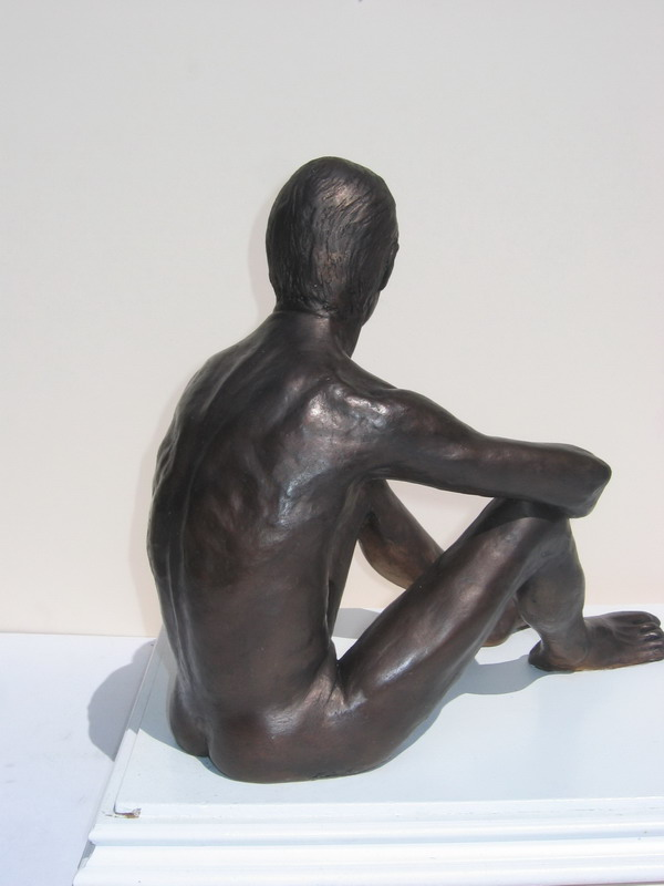 Waiting, rear detail, clay and acrylic