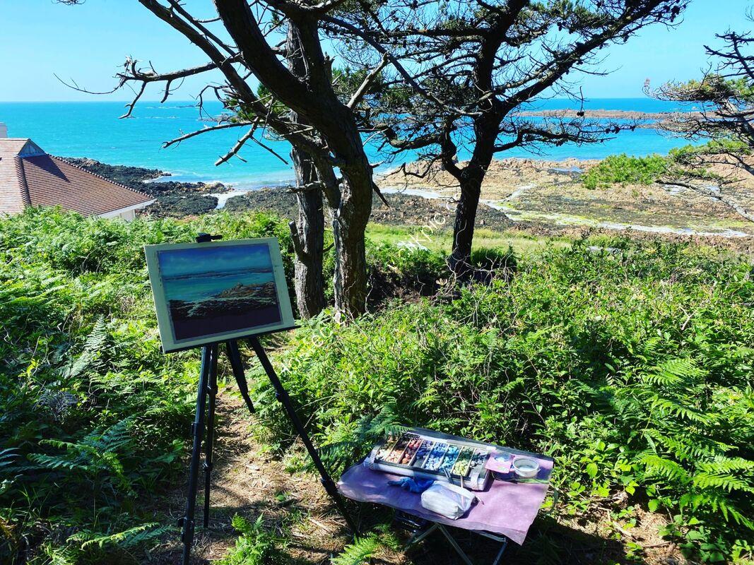 Painting en plein air at Le Guet, Guernsey