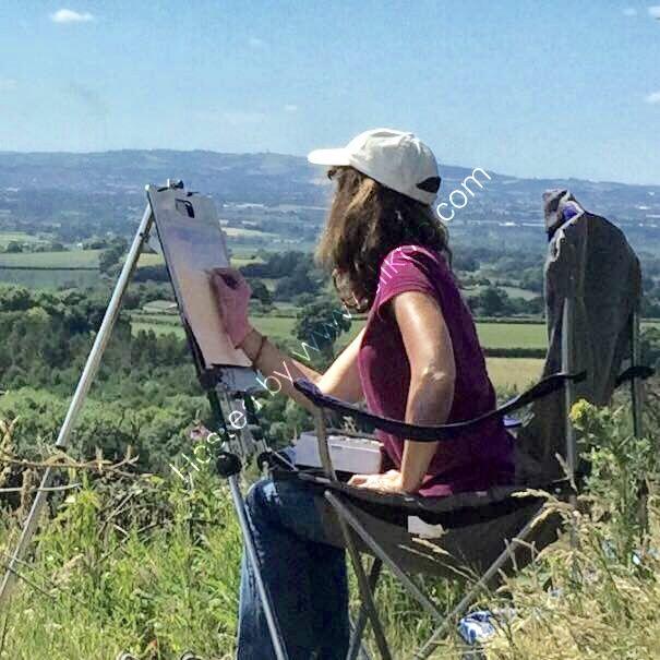 Wendy painting on location in Devon