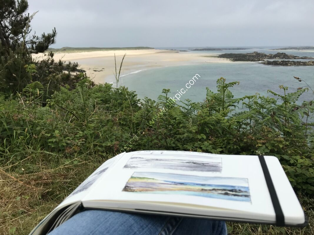 Sketching in Herm, looking towards Shell Beach