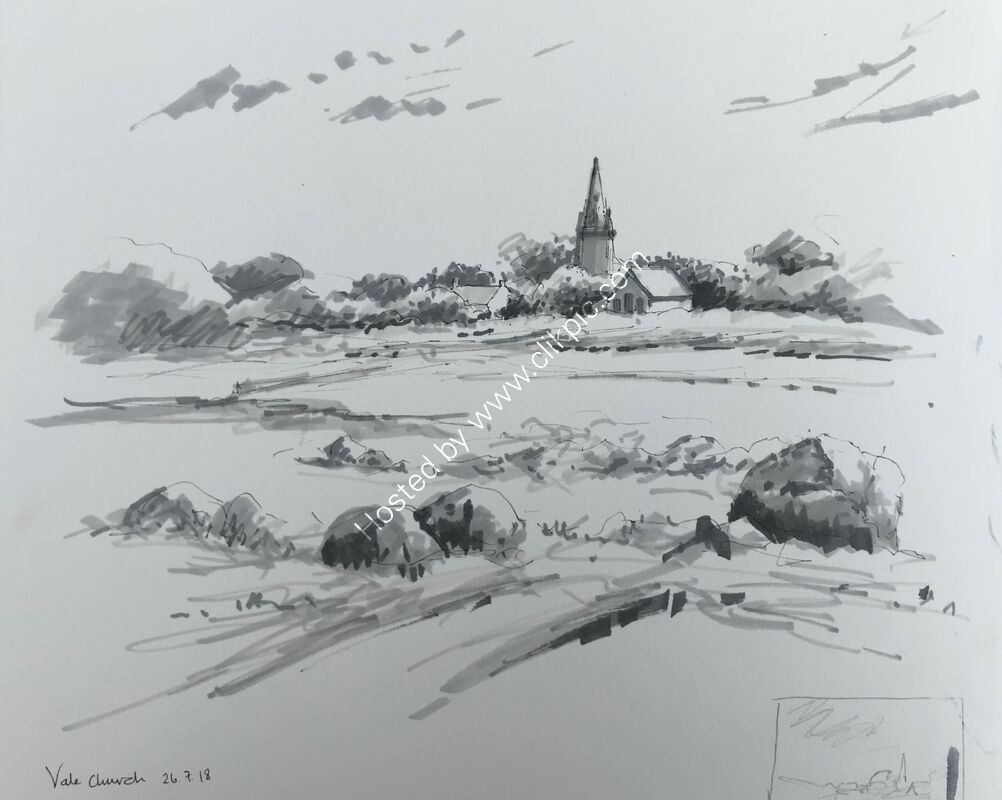 Sketching on Grand Havre beach