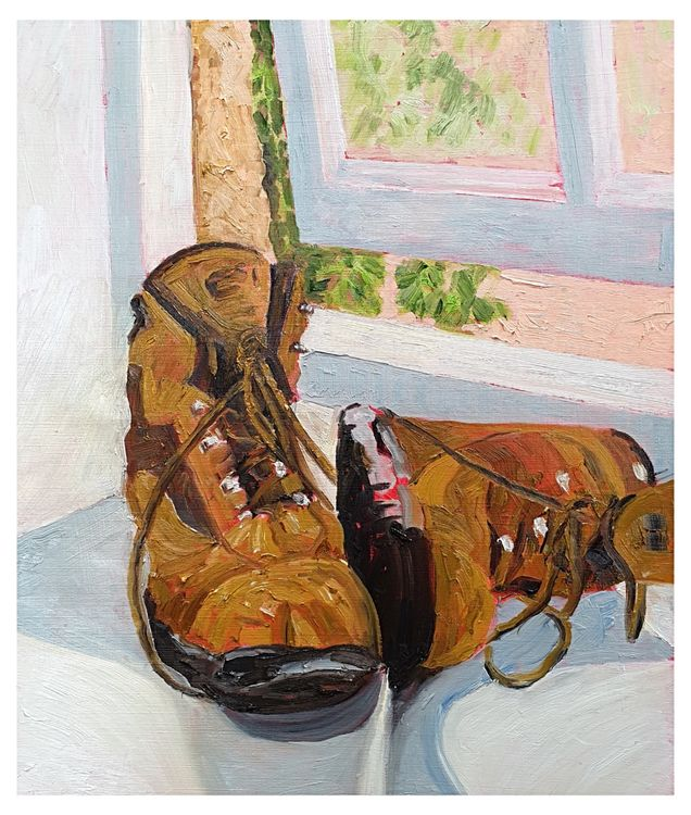 """Get those boots off the windowsill!"" (Oils)52 x 65 cms approx mounted £180"