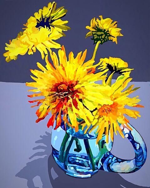 Dandelions in a Glass Jug (digital)
