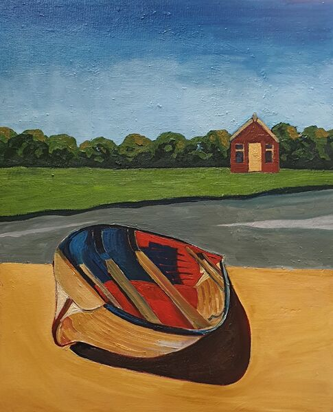 """The Beach Hut"" (oils) £130"