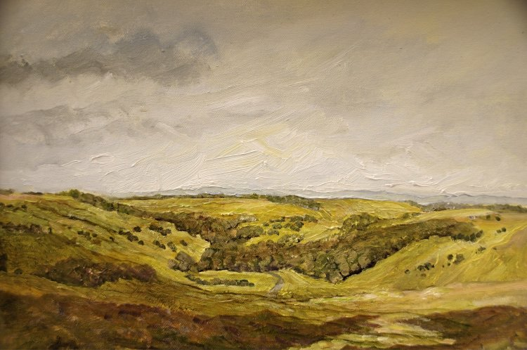 "From Grinton Moor (oils) £200 (16x12"")"