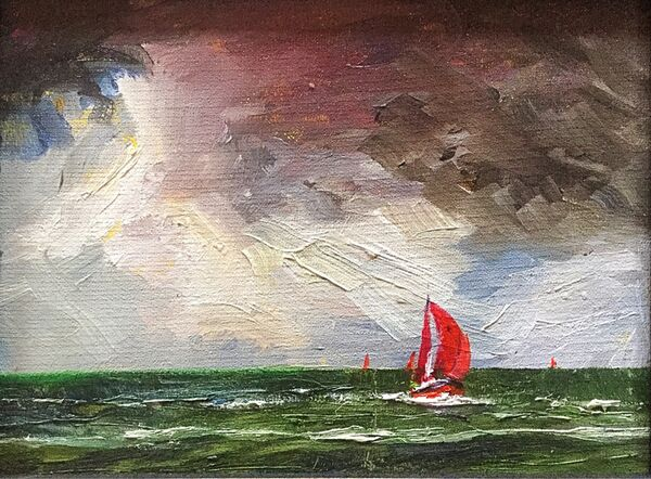 """Red Sails and a Stormy Sky (oils) 6x 8"""" £120 SOLD"""