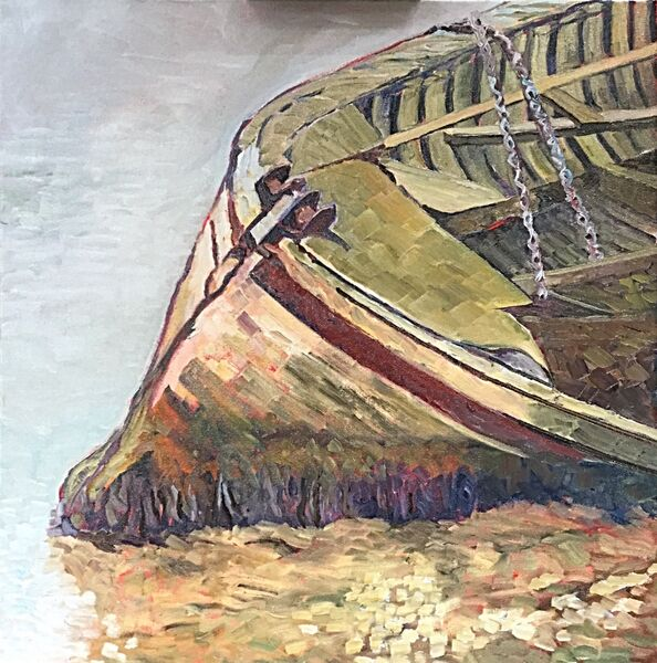 Derelict Boat at Orford (oils) Available from Moorlands Gallery, Bedale £350