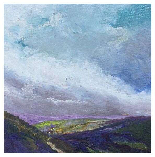 "Coverdale (oils) canvas 8""x 8""  8"" x 8"" £85 Available from The Chapel Gallery, Hawes"