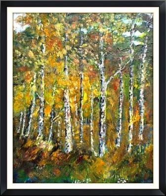Autumn Birches near Spennithorne.(oils) SOLD