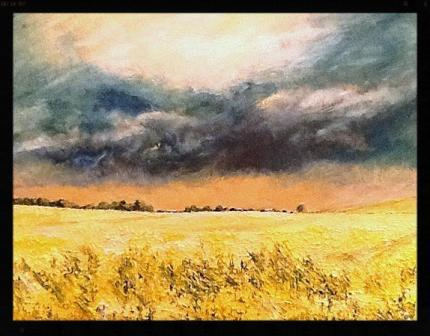 Gathering Storm over Rape Field near Carthorpe (oils) SOLD