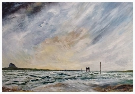 "Holy Island (oil on canvas)   22"" x 16""   £250"