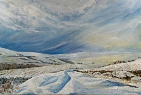 "Winter Above Low Row, Swaledale (oils on canvas)  36"" x 24""  £220"
