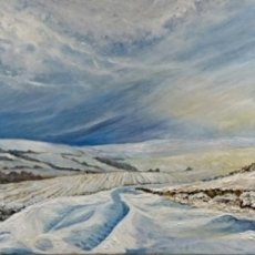 """Winter Above Low Row, Swaledale (oils on canvas) 36"""" x 24"""" £280"""