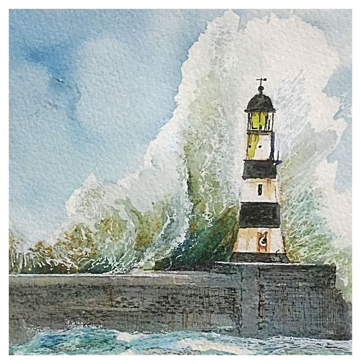 Seaham Lighthouse - watercolour SOLD