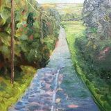 "The Road to ..... (oils) 21 x 26 cms approx   8"" x 8"" £85 Available from The Chapel Gallery, Hawes"